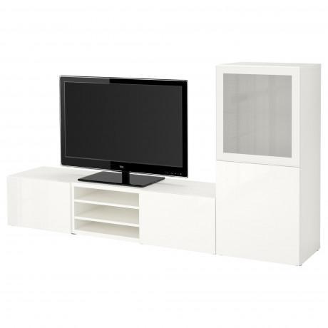 Шкаф для ТВ, комбин/стеклян дверцы БЕСТО Лаппвикен, Синдвик белый прозрачное стекло фото 54