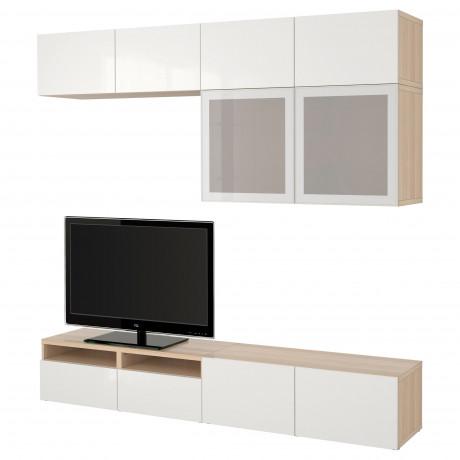 Шкаф для ТВ, комбин/стеклян дверцы БЕСТО Лаппвикен, Синдвик белый прозрачное стекло фото 36