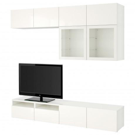 Шкаф для ТВ, комбин/стеклян дверцы БЕСТО Лаппвикен, Синдвик белый прозрачное стекло фото 52