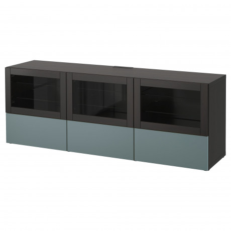 Тумба под ТВ, с дверцами и ящиками БЕСТО под беленый дуб, Вальвикен серо-бирюзовый, прозрачное стекло фото 16