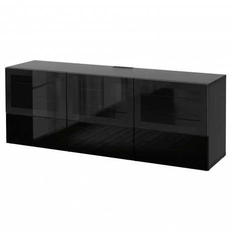 Тумба под ТВ, с дверцами и ящиками БЕСТО под беленый дуб, Вальвикен серо-бирюзовый, прозрачное стекло фото 57