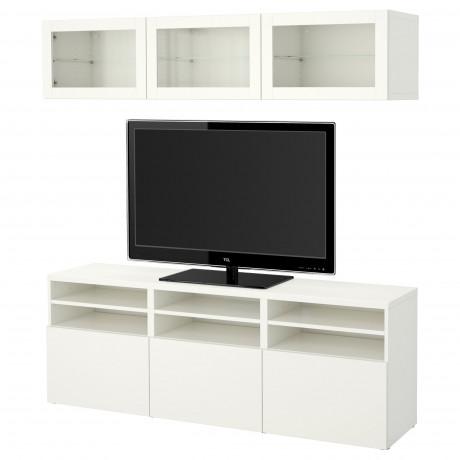 Шкаф для ТВ, комбин/стеклян дверцы БЕСТО Лаппвикен, Синдвик белый прозрачное стекло фото 61