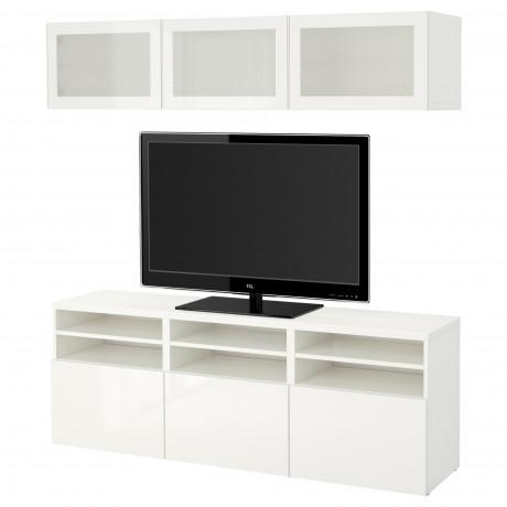Шкаф для ТВ, комбин/стеклян дверцы БЕСТО Лаппвикен, Синдвик белый прозрачное стекло фото 57