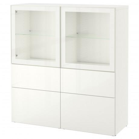 Комбинация д/хранения+стекл дверц БЕСТО белый, вассвикен белый прозрачное стекло фото 51