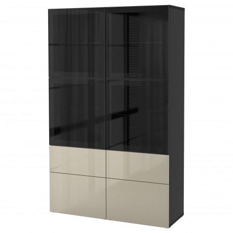 Комбинация д/хранения+стекл дверц БЕСТО Лаппвикен, Синдвик белый прозрачное стекло фото 35