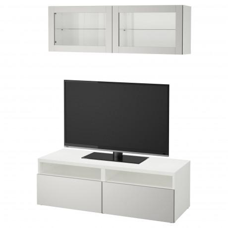 Шкаф для ТВ, комбин/стеклян дверцы БЕСТО под беленый дуб, Сельсвикен глянцевый/белый матовое стекло фото 8