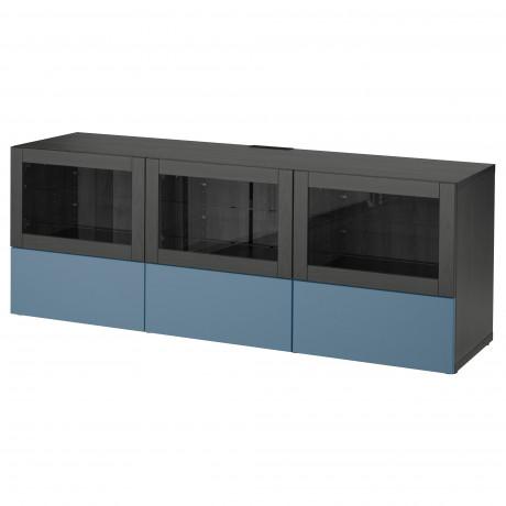Тумба под ТВ, с дверцами и ящиками БЕСТО под беленый дуб, Вальвикен серо-бирюзовый, прозрачное стекло фото 22
