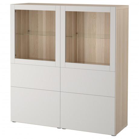 Комбинация д/хранения+стекл дверц БЕСТО белый, вассвикен белый прозрачное стекло фото 4