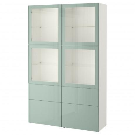 Комбинация д/хранения+стекл дверц БЕСТО Лаппвикен, Синдвик белый прозрачное стекло фото 31