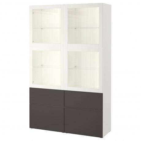 Комбинация д/хранения+стекл дверц БЕСТО Лаппвикен, Синдвик белый прозрачное стекло фото 28