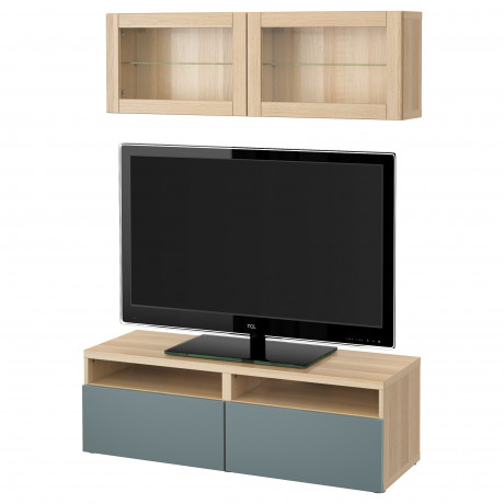 Шкаф для ТВ, комбин/стеклян дверцы БЕСТО под беленый дуб, Сельсвикен глянцевый/белый матовое стекло фото 18