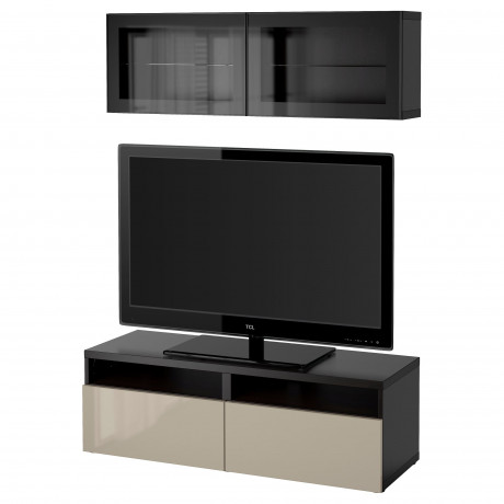Шкаф для ТВ, комбин/стеклян дверцы БЕСТО под беленый дуб, Сельсвикен глянцевый/белый матовое стекло фото 49