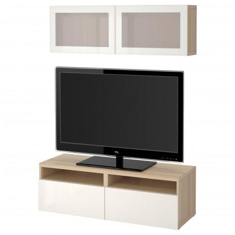 Шкаф для ТВ, комбин/стеклян дверцы БЕСТО под беленый дуб, Сельсвикен глянцевый/белый матовое стекло  фото 1