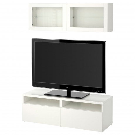 Шкаф для ТВ, комбин/стеклян дверцы БЕСТО под беленый дуб, Сельсвикен глянцевый/белый матовое стекло фото 5