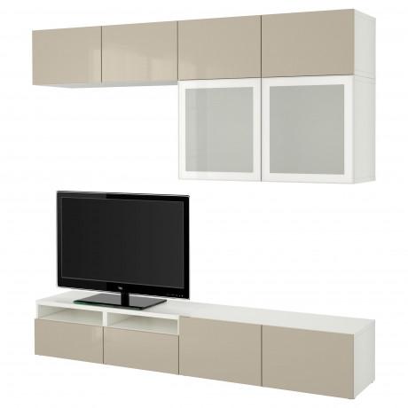 Шкаф для ТВ, комбин/стеклян дверцы БЕСТО Лаппвикен, Синдвик белый прозрачное стекло фото 13