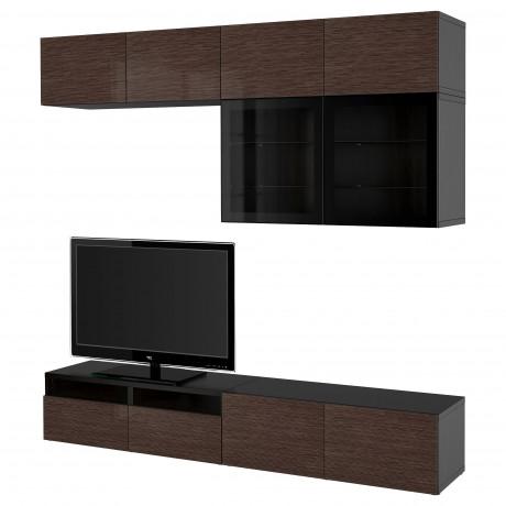 Шкаф для ТВ, комбин/стеклян дверцы БЕСТО Лаппвикен, Синдвик белый прозрачное стекло фото 46