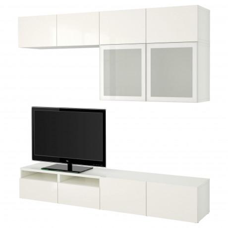 Шкаф для ТВ, комбин/стеклян дверцы БЕСТО Лаппвикен, Синдвик белый прозрачное стекло фото 33