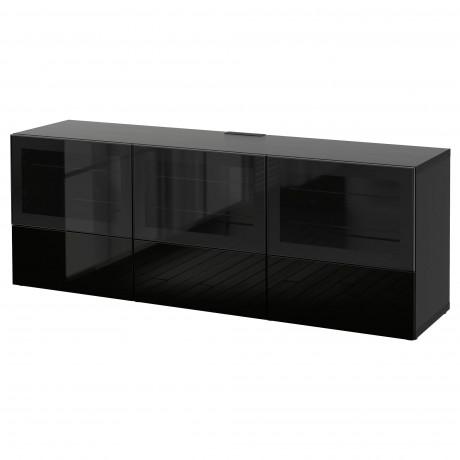 Тумба под ТВ, с дверцами и ящиками БЕСТО под беленый дуб, Вальвикен серо-бирюзовый, прозрачное стекло фото 42