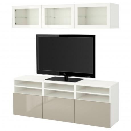 Шкаф для ТВ, комбин/стеклян дверцы БЕСТО Лаппвикен, Синдвик белый прозрачное стекло фото 39