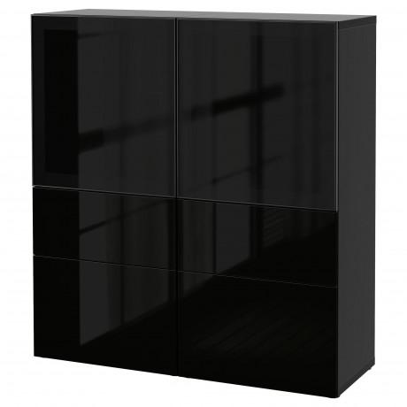Комбинация д/хранения+стекл дверц БЕСТО белый, вассвикен белый прозрачное стекло фото 46
