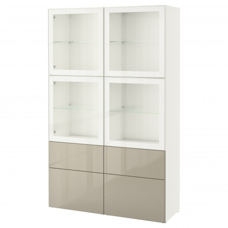 Комбинация д/хранения+стекл дверц БЕСТО Лаппвикен, Синдвик белый прозрачное стекло фото 39