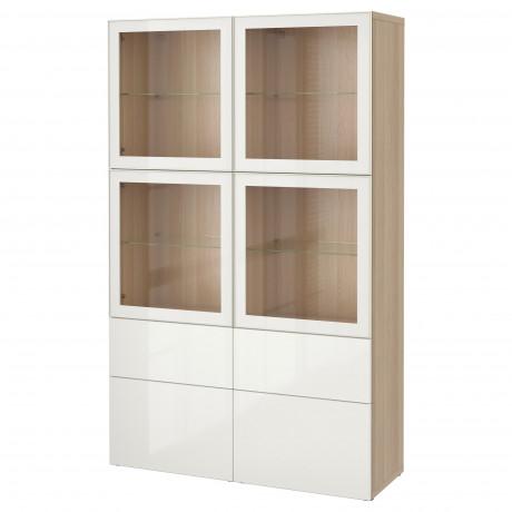 Комбинация д/хранения+стекл дверц БЕСТО Лаппвикен, Синдвик белый прозрачное стекло фото 45