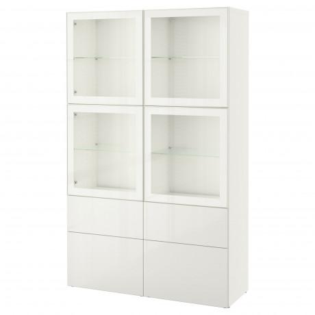 Комбинация д/хранения+стекл дверц БЕСТО Лаппвикен, Синдвик белый прозрачное стекло фото 58