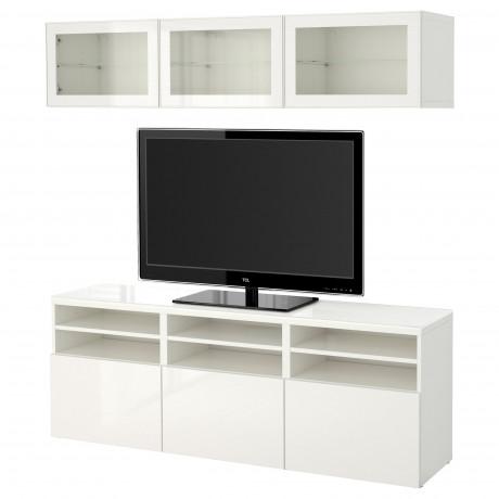 Шкаф для ТВ, комбин/стеклян дверцы БЕСТО Лаппвикен, Синдвик белый прозрачное стекло фото 27