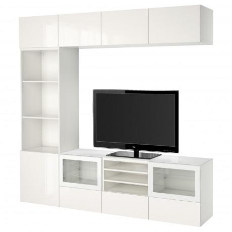 Шкаф для ТВ, комбин/стеклян дверцы БЕСТО Лаппвикен, Синдвик белый прозрачное стекло фото 28