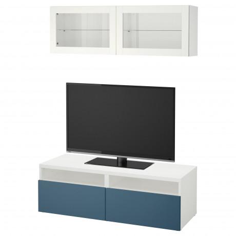 Шкаф для ТВ, комбин/стеклян дверцы БЕСТО под беленый дуб, Сельсвикен глянцевый/белый матовое стекло фото 14