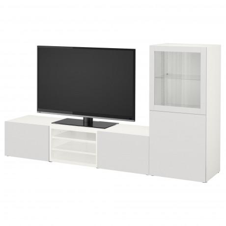 Шкаф для ТВ, комбин/стеклян дверцы БЕСТО Лаппвикен, Синдвик белый прозрачное стекло фото 2