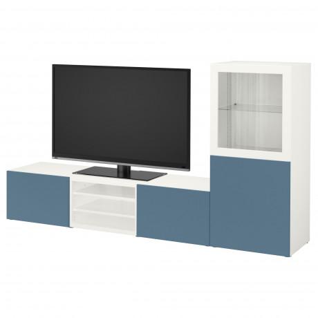 Шкаф для ТВ, комбин/стеклян дверцы БЕСТО Лаппвикен, Синдвик белый прозрачное стекло фото 17