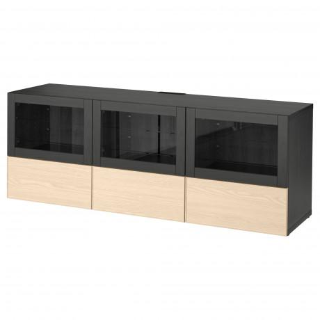 Тумба под ТВ, с дверцами и ящиками БЕСТО под беленый дуб, Вальвикен серо-бирюзовый, прозрачное стекло фото 25