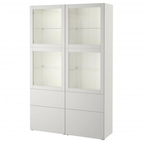 Комбинация д/хранения+стекл дверц БЕСТО Лаппвикен, Синдвик белый прозрачное стекло фото 7