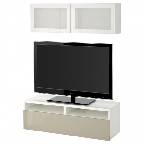 Шкаф для ТВ, комбин/стеклян дверцы БЕСТО под беленый дуб, Сельсвикен глянцевый/белый матовое стекло фото 56