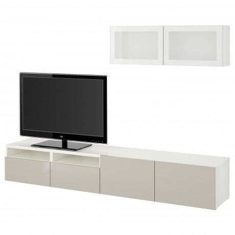 Шкаф для ТВ, комбин/стеклян дверцы БЕСТО Лаппвикен, Синдвик белый прозрачное стекло фото 58