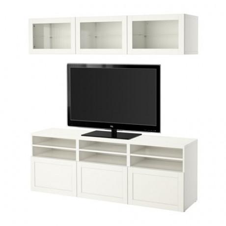 Шкаф для ТВ, комбин/стеклян дверцы БЕСТО Лаппвикен, Синдвик белый прозрачное стекло фото 62