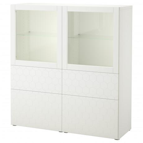 Комбинация д/хранения+стекл дверц БЕСТО белый, вассвикен белый прозрачное стекло фото 56