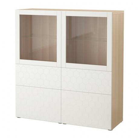 Комбинация д/хранения+стекл дверц БЕСТО белый, вассвикен белый прозрачное стекло фото 60