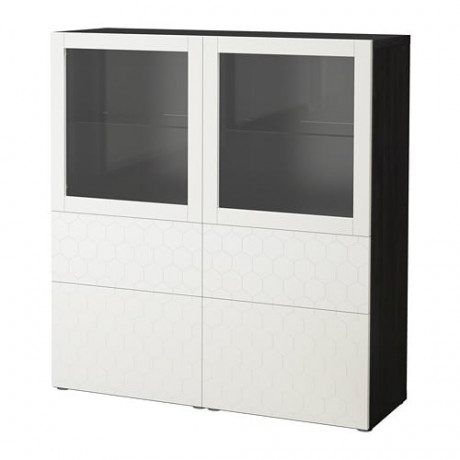 Комбинация д/хранения+стекл дверц БЕСТО белый, вассвикен белый прозрачное стекло фото 59