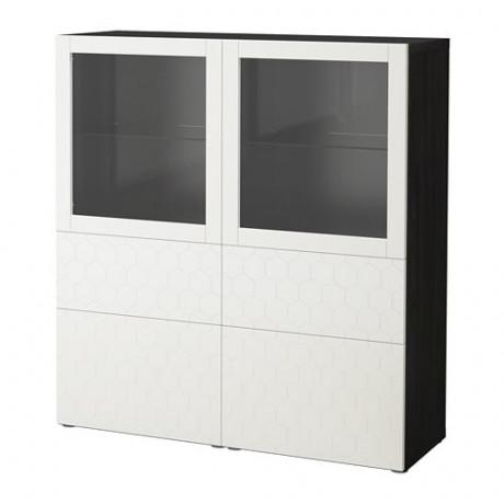 Комбинация д/хранения+стекл дверц БЕСТО белый, вассвикен белый прозрачное стекло фото 61