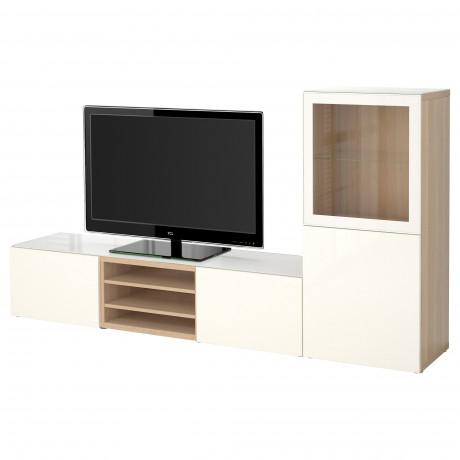 Шкаф для ТВ, комбин/стеклян дверцы БЕСТО белый Лаппвикен, Синдвик белый прозрачное стекло фото 16