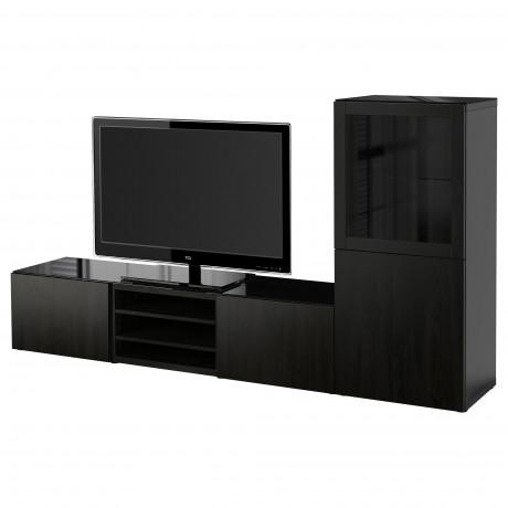 Шкаф для ТВ, комбин/стеклян дверцы БЕСТО белый Лаппвикен, Синдвик белый прозрачное стекло фото 3