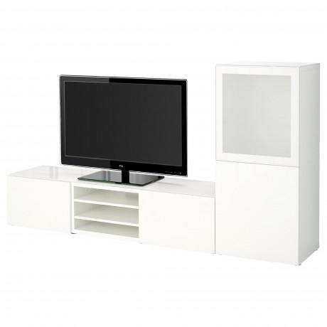 Шкаф для ТВ, комбин/стеклян дверцы БЕСТО белый Лаппвикен, Синдвик белый прозрачное стекло фото 27
