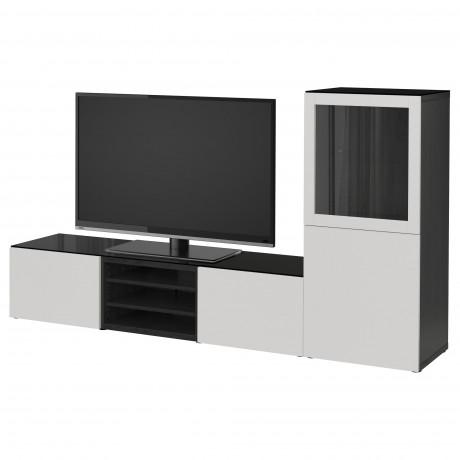 Шкаф для ТВ, комбин/стеклян дверцы БЕСТО белый Лаппвикен, Синдвик белый прозрачное стекло фото 4
