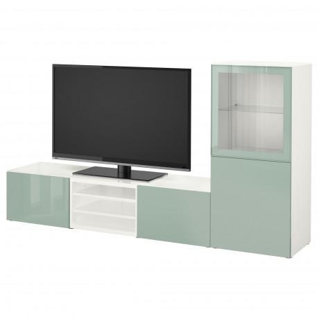 Шкаф для ТВ, комбин/стеклян дверцы БЕСТО белый Лаппвикен, Синдвик белый прозрачное стекло фото 31