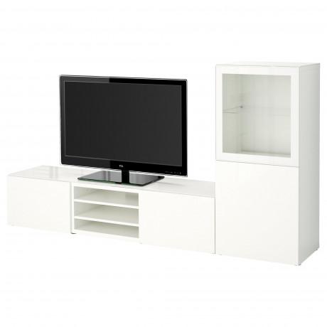Шкаф для ТВ, комбин/стеклян дверцы БЕСТО белый Лаппвикен, Синдвик белый прозрачное стекло фото 20