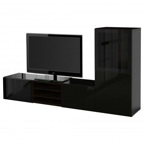 Шкаф для ТВ, комбин/стеклян дверцы БЕСТО белый Лаппвикен, Синдвик белый прозрачное стекло фото 30