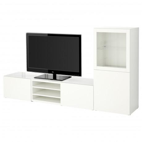 Шкаф для ТВ, комбин/стеклян дверцы БЕСТО белый Лаппвикен, Синдвик белый прозрачное стекло  фото 1