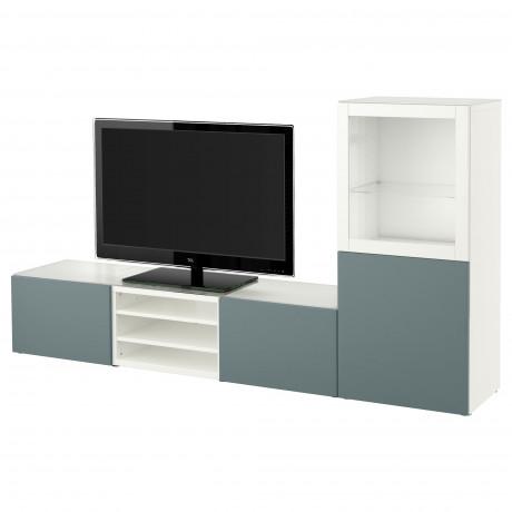 Шкаф для ТВ, комбин/стеклян дверцы БЕСТО белый Лаппвикен, Синдвик белый прозрачное стекло фото 9